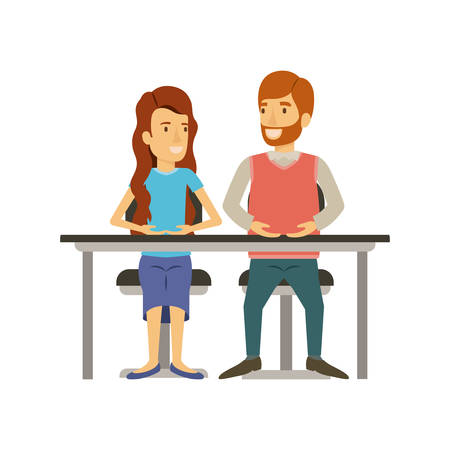 coworker: colorful silhouette of teamwork of woman and man sitting in desk and her with long wavy hair and him in casual clothes with beard vector illustration