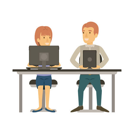 coworker: colorful silhouette of teamwork of woman and man sitting in desk with tech devices and her with ponytail hairstyle and him in casual clothes vector illustration