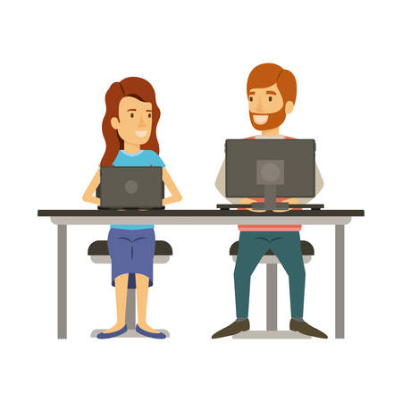 colorful silhouette of teamwork of woman and man sitting in desk with tech devices and her with long wavy hair and him in casual clothes with beard vector illustration Illustration