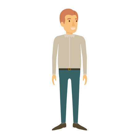 smart man: colorful silhouette of man standing with casual clothes and reddish hair vector illustration Illustration