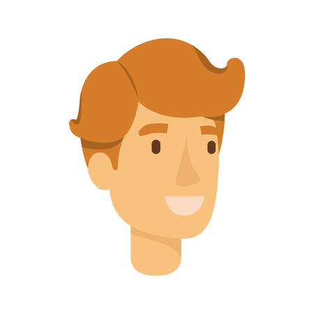 colorful silhouette of redheaded man face vector illustration