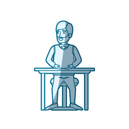 smart man: blue color silhouette shading of bearded man in formal suit and hair side parted and sitting in chair in desktop vector illustration