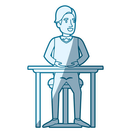 smart man: blue color silhouette shading of man in formal clothes and hair side fringe and sitting in chair in desktop vector illustration Illustration