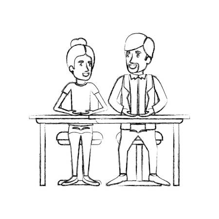 dyke: blurred silhouette teamwork of woman and man sitting in desk and her with collected hair and him in casual clothes with beard vector illustration