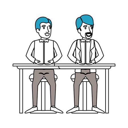associates: silhouette color sections of men sitting in desk one with casual clothes and the other with formal clothes and beard vector illustration Illustration