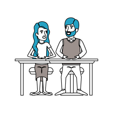 silhouette color sections of teamwork of couple sitting in desk and woman with wavy long hair in formal suit vector illustration