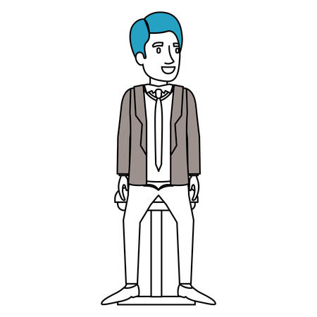 silhouette color sections of man with formal suit and red hair and sitting in chair vector illustration