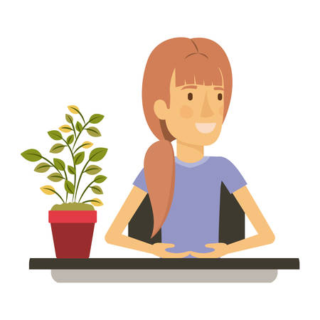 silhouette color closeup half body woman assistant in desk with ponytail hair vector illustration Illustration