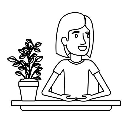 personal assistant: black silhouette half body woman assistant in desk with short hair vector illustration