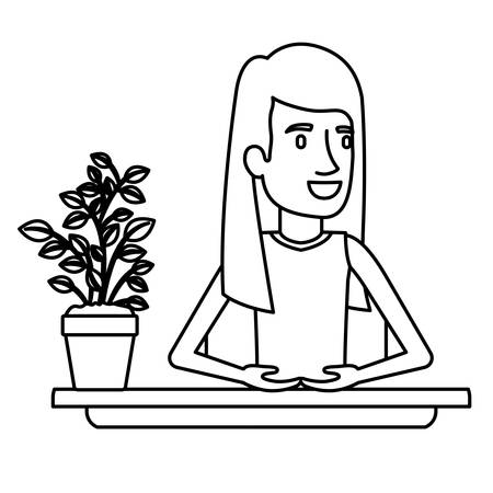 black silhouette closeup half body woman assistant in desk with straight long redhair vector illustration