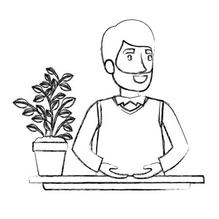 personal assistant: blurred silhouette half body bearded man assistant in desk in formal suit vector illustration
