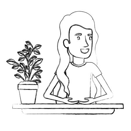 personal assistant: blurred silhouette half body woman assistant in desk with long wavy hair vector illustration
