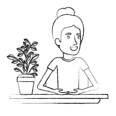 Blurred silhouette half body woman assistant in desk with collected hair vector illustration