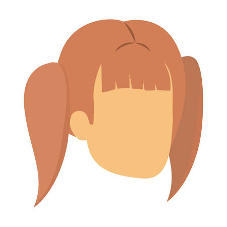 plait: colorful silhouette of woman faceless with pair pigtails hairstyle vector illustration