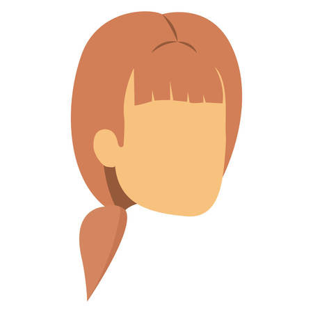 colorful silhouette of woman faceless with light red hair with ponytail and bangs vector illustration