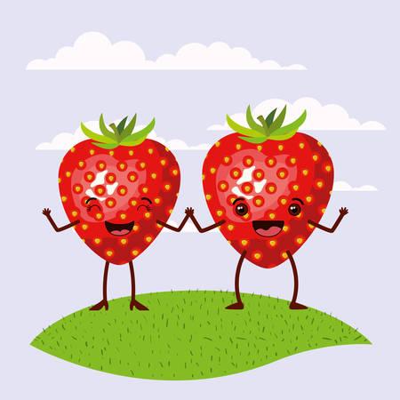 conjunto de escena de color paisaje del cielo y el césped con las expresiones de las fresas de pareja frutas kawaii manos de la celebración ilustración vectorial