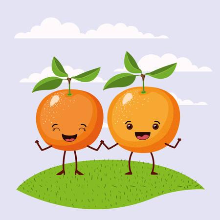 escena de color conjunto cielo paisaje y hierba con pareja gesto expresivo naranjas frutas kawaii sosteniendo manos ilustración vectorial