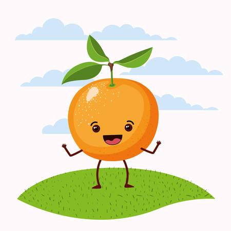 color scene set sky landscape and grass with cartoon expressive orange fruit standing vector illustration