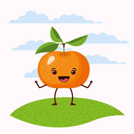 color scene set sky landscape and grass with cartoon expressive tangerine fruit standing vector illustration