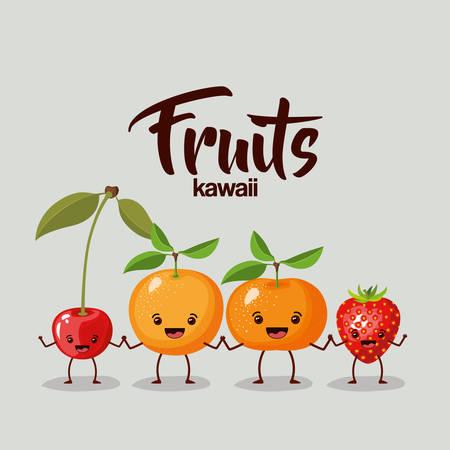 tangerine: Color background of set fruits kawaii holding hands vector illustration