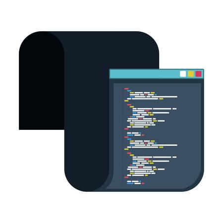 긴 스크립트 코드 벡터 일러스트와 함께 프로그래밍 창의 색상 실루엣