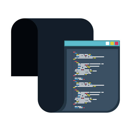 color silhouette of programming window with long script code vector illustration