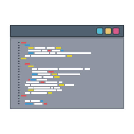 color silhouette of programming window with script code vector illustration Illustration