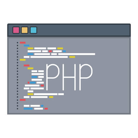 css: color silhouette of programming window with script code php vector illustration