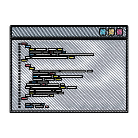 colored pencil silhouette of programming window with script code vector illustration
