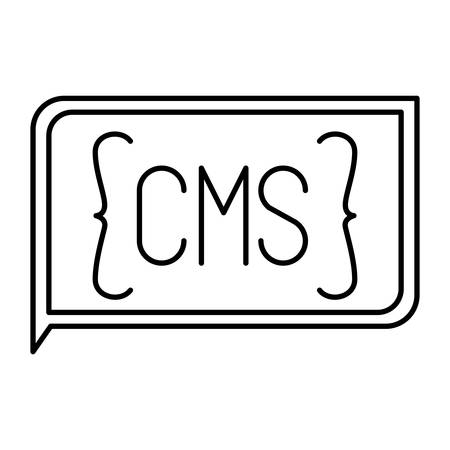 css: monochrome silhouette of rectangle text cms vector illustration