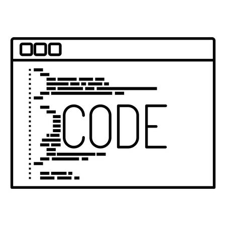 css: monochrome silhouette of programming window with script of code vector illustration