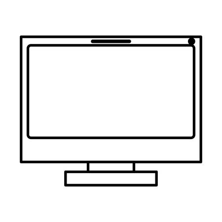 lcd tv: monochrome silhouette of lcd monitor vector illustration Illustration