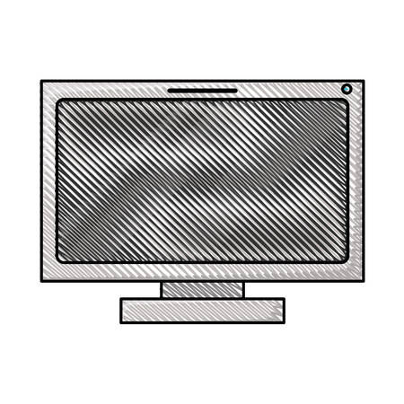 lcd tv: colored pencil silhouette of lcd monitor vector illustration Illustration