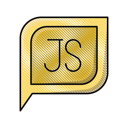 colored pencil silhouette dialogue square with tail with js symbol vector illustration