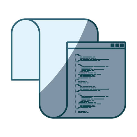 css: blue shading silhouette of programming window with long script code vector illustration Illustration