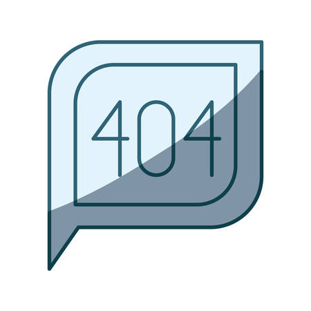 blue shading silhouette dialogue square with tail with 404 not found symbol vector illustration Çizim