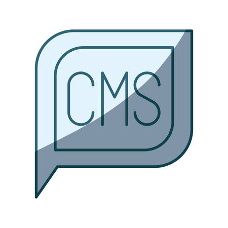 css: blue shading silhouette dialogue square with tail with cms symbol vector illustration