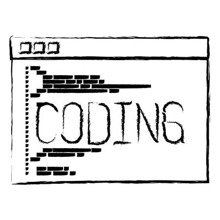 css: monochrome blurred silhouette of programming window with script of coding vector illustration Illustration