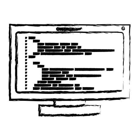 css: monochrome blurred silhouette of lcd monitor with screen programming window with script code vector illustration