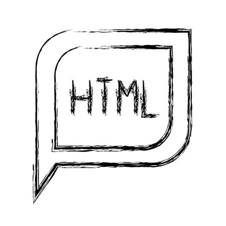 css: monochrome blurred silhouette dialogue square with tail with html symbol vector illustration Illustration