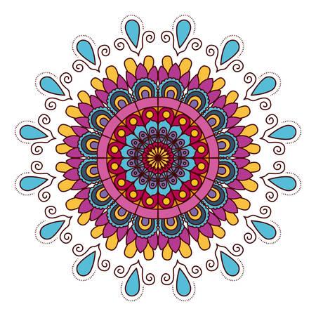 white background with colorful flower mandala vintage decorative drops ornament vector illustration Illustration