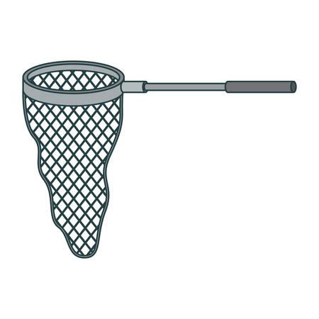 Buntes Schattenbild des Fischernetzes mit Griff und starker Konturnvektorillustration Standard-Bild - 81583202