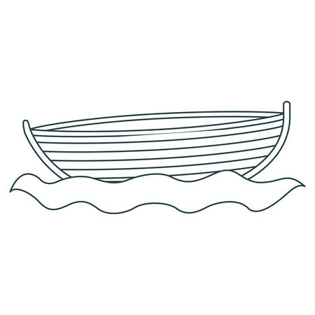 monochrome contour of wooden fishing boat in water vector illustration