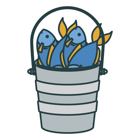 colorful silhouette bucket full fish with thick contour vector illustration