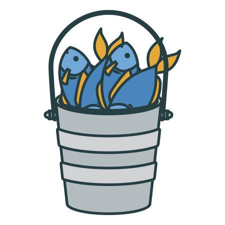 Voller Fisch des bunten Schattenbildeimers mit starker Konturnvektorillustration Standard-Bild - 81583207