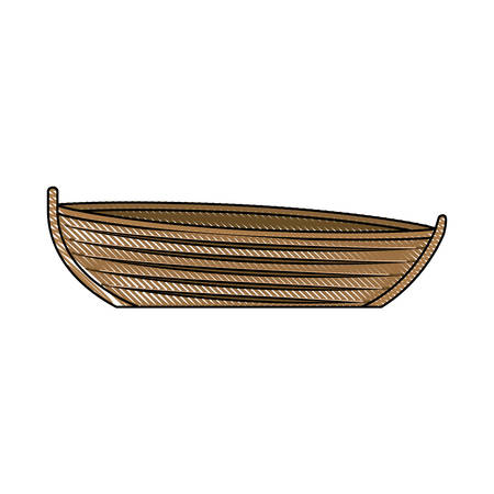 colored pencil silhouette of wooden fishing boat vector illustration