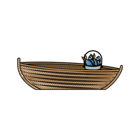 rowboat: colored pencil silhouette of wooden fishing boat with bucket full of fish vector illustration Illustration
