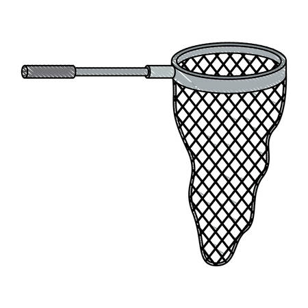 fishnet: colored pencil silhouette of fishing net with handle vector illustration