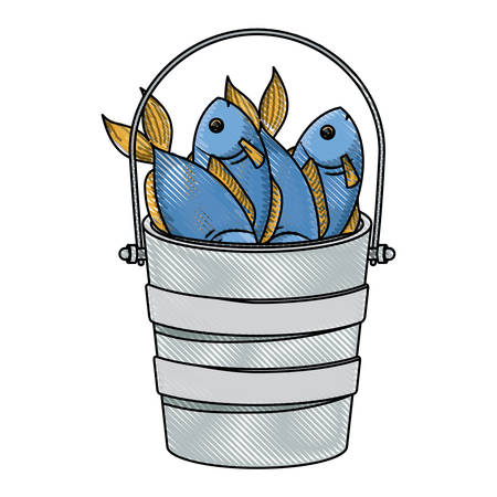 colored pencil silhouette of bucket full fish vector illustration