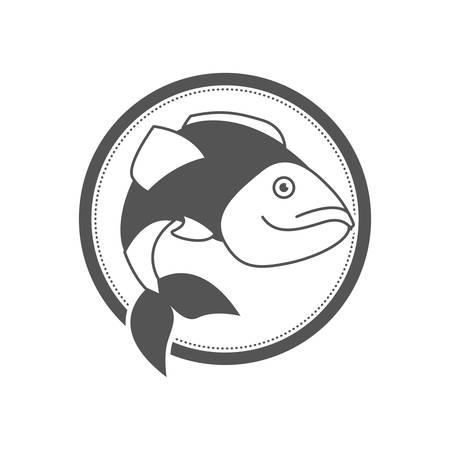 monochrome silhouette circular emblem with largemouth bass fish vector illustration